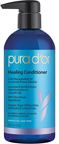 Pura D'Or Lavender & Vanilla Premium Organic Argan Oil Healing Conditioner, 16 Fluid Ounce