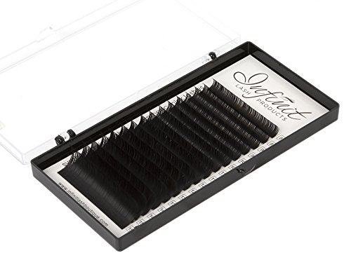 Mixed D-Curl Black Synthetic Mink Eyelash Extension Tray By Infinit | 16  Rows - Thickness: 0 15Mm X Lengths: 8Mm~15Mm | For Individual Lash  Extensions