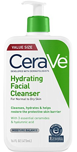 Cerave Hydrating Facial Cleanser 16 Oz For Daily Face Washing, Dry To Normal Skin