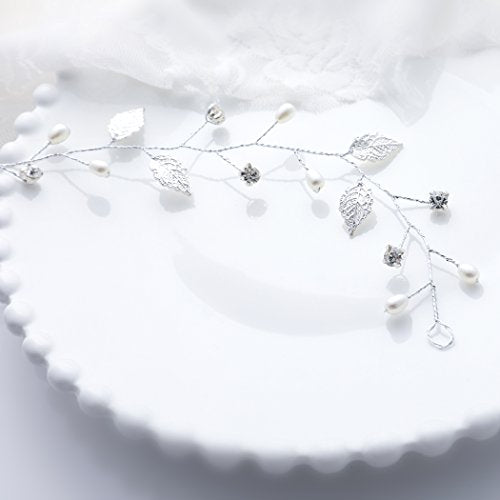 Yean Wedding Headband Vintage Leaf Bridal Hair Vine With Ribbon Hair Accessories For Bride And Bridesmaid (Silver)
