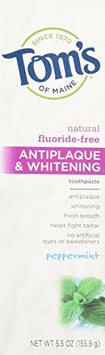 Tom'S Of Maine Antiplaque And Whitening Fluoride-Free Toothpaste, Peppermint, 5.5 Ounce