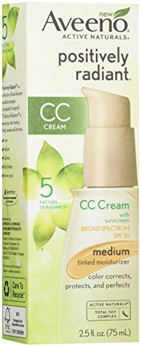 Aveeno Positively Radiant Cc Cream Broad Spectrum Spf 30 Medium, Skin Color Correction, 2.5 Oz
