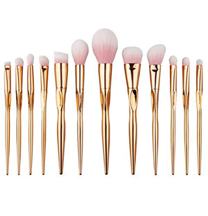 Autumnfall Makeup Brushes, Premium Synthetic Kabuki Makeup Brush Set Foundation Eyeshadow Blush Concealer Powder Brush Kit (Gold - 2)