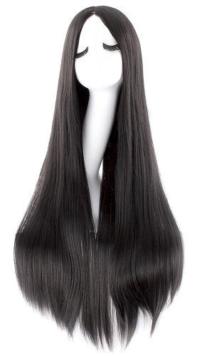 Mapofbeauty Fashion Straight Long Costume Anime Wig (Black)