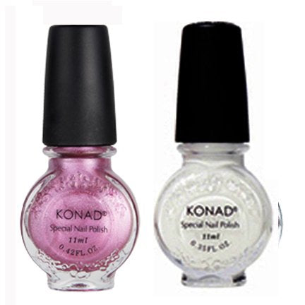 Bundle 3 Items: Konad Stamping Nail Art Special 2 Polishes White, Vivd Pink +