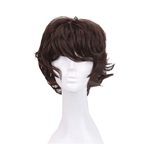 Dayiss Men Nature Brown Curly Costume Anime Wig Short Wavy Hair Cosplay Party Full Wig