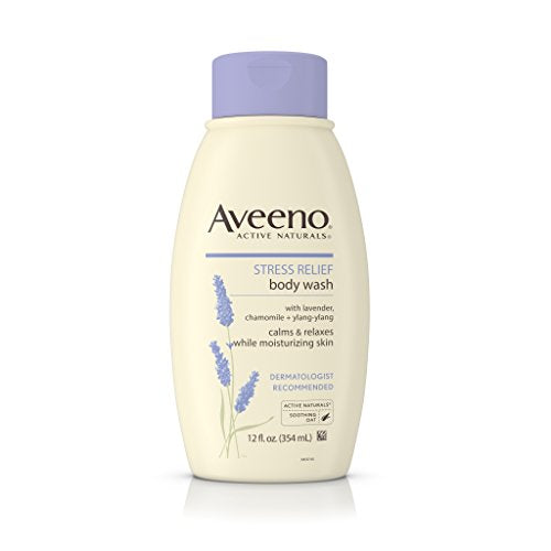 Aveeno Stress Relief Body Wash With Lavender, Chamomile And Ylang-Ylang Oils, 12 Fl. Oz.