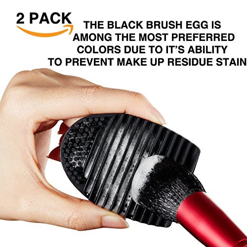 Makeup Brush Egg Cleaner  Helps Clean Your Make Up Brushes Easily - Reusable And Easy To Use Silicone Scrubbing Tool - Includes 2 Brush Guards