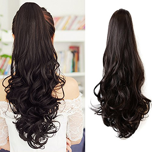 Ponytail Hair Pieces 24 Inch Curly Claw Clip Synthetic Pony Tail Hair Extensions Medium Brown 120 Grams Long Natural Clip In Ponytail Wigs, #4