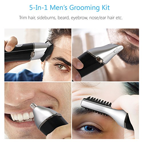 Suprent Beard Trimmer Kit, 5 In 1 Multi-Functional Body Groomer Kit Of Mustache Trimmer, Nose Hair Trimmer And Precision Trimmer, Waterproof And Rechargeable Cordless