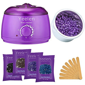 Yeelen Hair Removal Hot Wax Warmer Waxing Kit Wax Melts + 4 Flavors Hard Wax Beans + 10 Wax Applicator Sticks