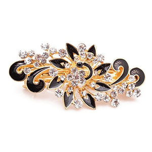 Zuoyou Women'S Multilayered Peacock Shaped Rhinestone French Barrette Hair Clip Black