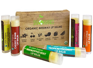 Usda Organic Lip Balm By Sky Organics  Assorted Flavors - With Beeswax, Coconut Oil, Vitamin E. Best Lip Plumper Chapstick For Dry Lips- For Adults And Kids Lip Repair. Made In Usa