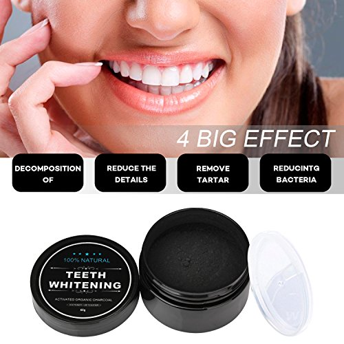 Iwotou Teeth Whitening Charcoal Powder, Natural Activated Charcoal Powder Teeth Whitener Of Organic Coconut Shells With Spearmint Flavor For Healthy Cleaner Whiter Teeth, 2.1 Oz