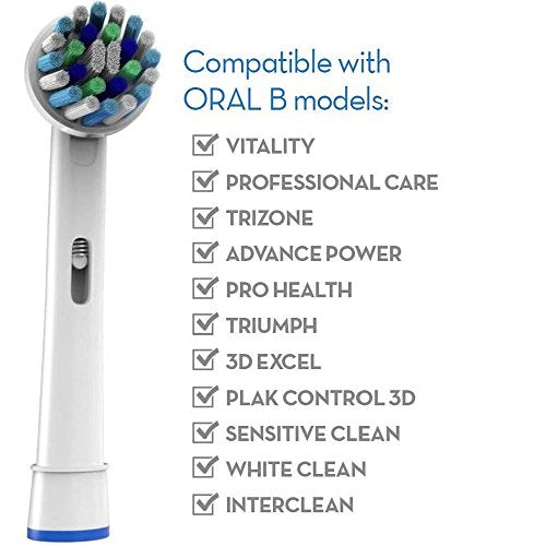 Electric Toothbrush Replacement Brush Heads 8 Generic Oral B Cross Action ba241eb13d96