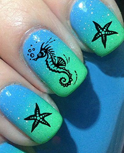 Nautical Nail Art Waterslide Decals Set #1 - Fish, Anchors, Seahorses - Salon Quality!