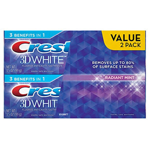 Crest 3D White Radiant Mint Whitening Toothpaste, 3.5 Oz Twinpack