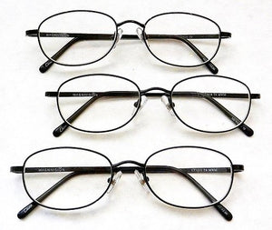 (+ Bonus) Magnivision +1.50 Titanium (T4) Black Oval Metal Wire Rim Reading Glasses + 1 Free Bonus Micro-Suede Cleaning Cloth