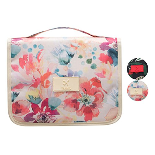 a89caa705911 Calormixs Cosmetic Bag Multifunction Toiletry Bag Portable Makeup Pouch  Waterproof Travel Hanging Organizer Bag For Women Girls (White Flower)