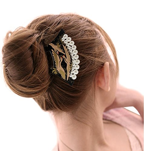 Yoy Fashion Hair Decor Japanese Traditional Style Hair Comb Pins Picks Pics Forks For Women Girls Hair Accessory Two Prong With Pearls, Black