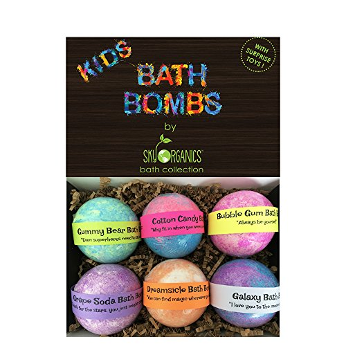 Kids Bath Bombs Gift Set With Surprise Toys, 6X5Oz Fun Assorted Colored Xl Bath Fizzies, Kid Safe, Gender Neutral With Organic Essential Oils Handmade In The Usa Organic Bubble Bath Fizzy
