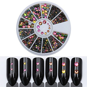 Born Pretty Chameleon Rhinestones Mixed Size Flat Back Manicure 3D Nail Art Decoration In Wheel