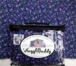 'Nugglebuddy Microwavable Moist Heat & Aromatherapy Organic Rice Pack. Beautiful Lavender Rose Fabric With Sweet Lavender Aromatherapy! The Perfect Gift Idea! Overnight Shipping Available!