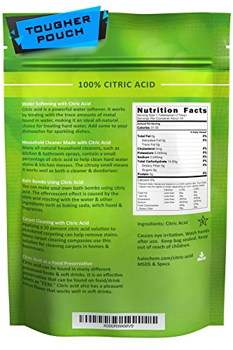 Citric Acid, 1 Lb, Pure For Bath Bombs, Kosher, Resealable Pouch, Usa Made, Approved For Organic Foods, Usp Grade