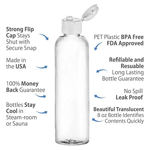 0ef299475365 Moyo Natural Labs 4 Oz Travel Bottles, Empty Travel Containers With Flip  Caps, Bpa Free Hdpe Plastic Squeezable Toiletry/Cosmetic Bottles (Clear)