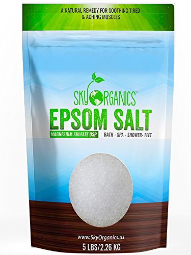 Epsom Salt By Sky Organics (5 Lbs)- 100% Pure Magnesium Sulfate-Natural, Usp Grade, Kosher, Non-Gmo  Laxative, Muscle Tension Relief , Foot Soak, Soothe Aches, Cleanses Skin. Made In Usa
