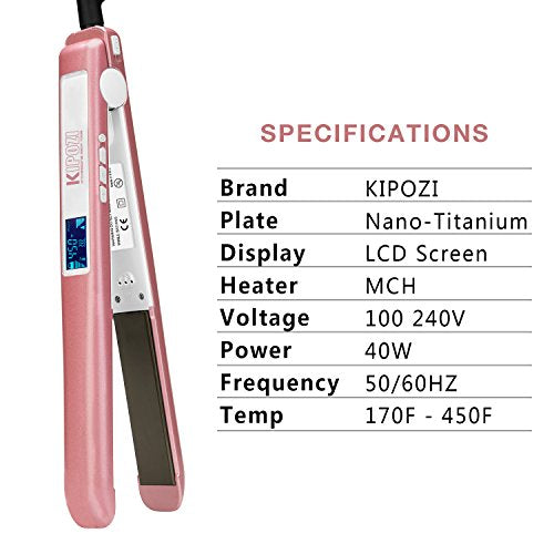 Kipozi Pro Flat Iron With 1 Inch Titanium Ion Plates Hairstraightener Adjustable Temperature Suitable For All Hair Types Makes Hair Shiny & Silky Heats Up Fast Dual Voltage Rose Pink