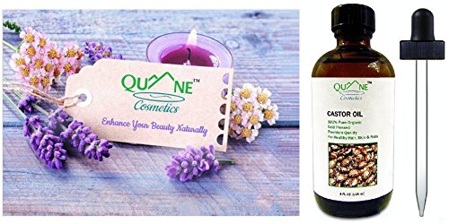 Quane Cosmetics Organic Castor Oil | Grow Hair Long & Thick Faster | 100% Pure , Cold Pressed , Hexane Free | For Moisturized Skin & Hair 4 Fl Oz