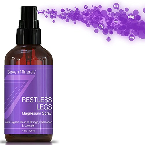 Restless Leg Syndrome Treatment & Cramp Pain Relief Magnesium Chloride Oil  Spray   Made In Usa - 100% Natural & Organic (4 Fl Oz /120Ml)    Free Guide