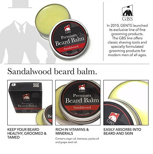 Sandalwood Beard Grooming Set- Beard Balm And Oil, Mustache Comb, Dressing  Comb And 4-Sided Wood Comb (Protective Case Included)