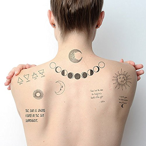 1067b597871ec Tattify Moon Themed Temporary Tattoos - Night And Day (Set Of 18 Tattoos - 2