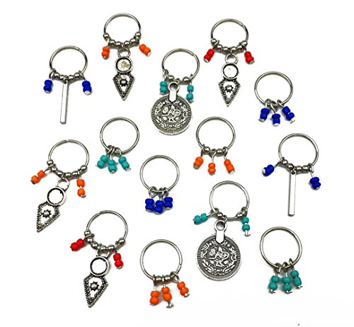 Hyamass 14Pcs Antique Silver Coin Colorful Beads Charms Pendant Rings Set Hair Clip Headband Hair Accessories