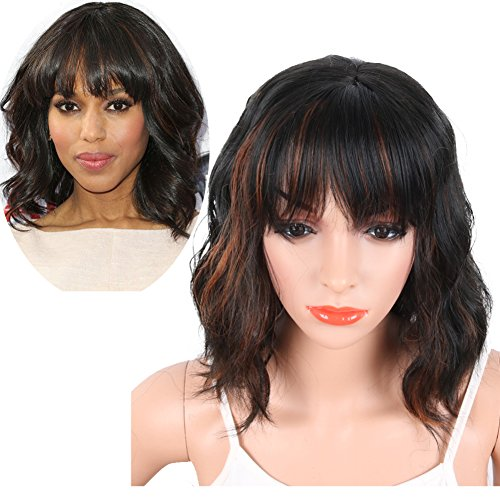Krsi Women S Short Curly Synthetic Wigs With Air Bangs Natural Black Brown Wigs  For Black 2a8ed9c201