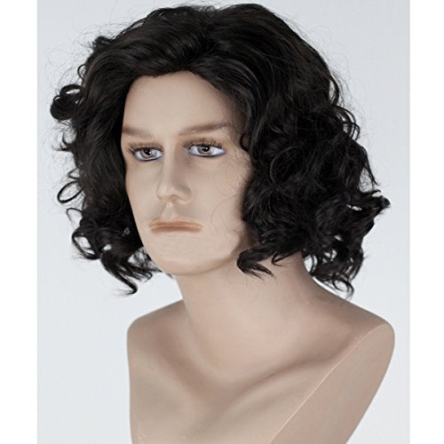 Angelaicos Men'S Curly Fluffy Cool Nautral Looking Party Halloween Cosplay Costume Wigs Short Black