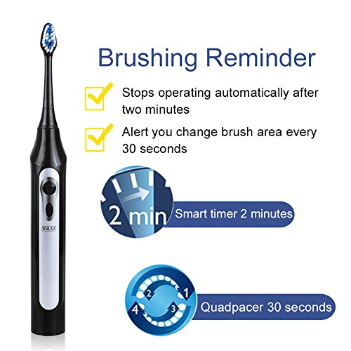 Sonic Electric Toothbrush Deep Clean As Dentist Rechargeable Travel  Toothbrush 5 Modes Waterproof 2 Replacement Heads Tongue Brush By Yasi Oral