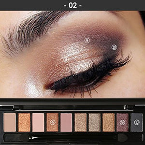 Yabina Eyeshadow Palette Makeup Matte + Shimmer 10 Colors - Highly Pigmented - Professional Nudes Warm Natural Bronze Neutral Smoky (02)