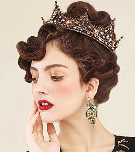 Aukmla Bridal Wedding Crown Baroco Style For Women And Girls (Queen Style)