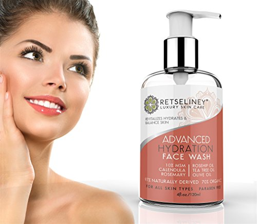 Retseliney Hydration Face Wash With Tea Tree Oil, 10% Msm, Calendula, Deep  Cleanse Pores, Natural And Organic Treatment For Acne And Blemishes,