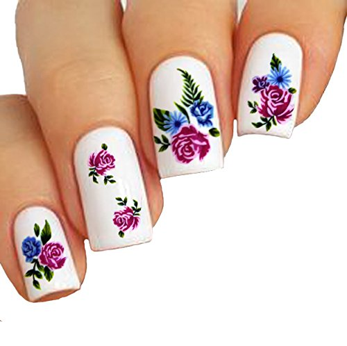 Elegant Water Tattoo Stickers For Nail Art Flowers Design & Color ...