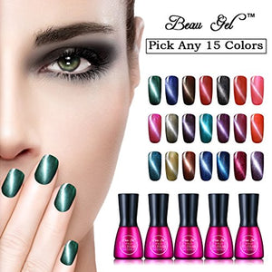 Beau Gel Magnetic 3D Cat Eye Gel Nail Polish Kit (Pick Any 15 Colors) Soak Off Uv Led Nail Varnish High Gloss Long-Lasting Nail Decor Manicure Set Comes With Free Magnet Stick