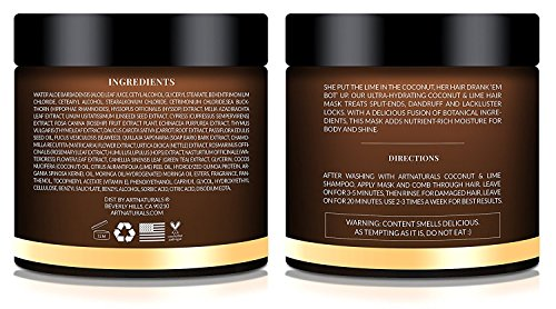 Artnaturals Coconut And Lime Hair Mask 8 Oz Replenishing Hydration Deep Conditioner For All Hair Types Sulfate Free Paraben Free And Vegan Coconut
