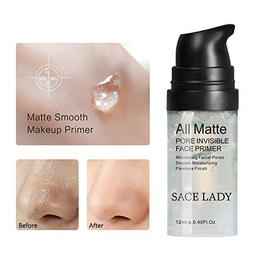 Sace Lady Invisible Pore Foundation Primer All Matte Face Primer, Oil- Control And Smooth Face Primer Gel (Travel Size:0.40Fl Oz , Color: Transparent)