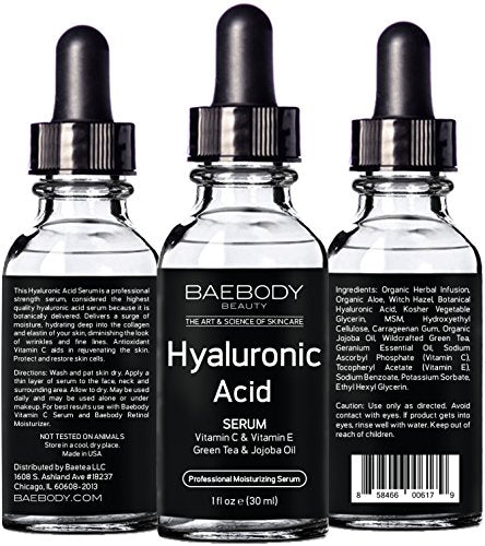 Baebody Hyaluronic Acid Serum For Face, Professional Anti-Aging Topical Facial Serum W Vitamin C & Vitamin E, Reduces Wrinkles & Fine Lines For Radiant And Younger Looking Skin, 1Oz