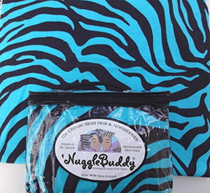'Nugglebuddy New! Microwaveable Moist Heat & Aromatherapy Organic Rice Pack.  Teal Zebra  Flannel. Unscented! Awesome Gift Idea!