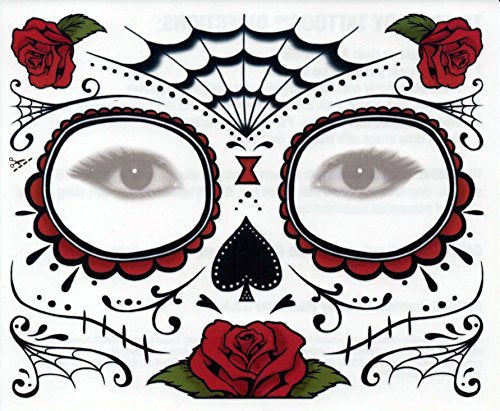 Sugar Skull Temporary Tattoo Rose Design (3 Tattoo Kits)