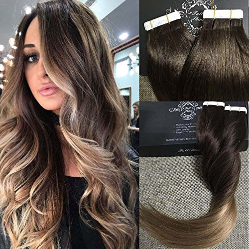 Fshine 14 Tape In Hair Extensions Skin Weft Dip Dye Real Hair Extensions Balayage Hair Color 2 Fading To 6 And 18 Ash Blonde Full Head Tape In Tape